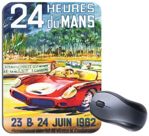 Le Mans 1962 Vintage Poster Mouse Mat. Motor Racing High Quality Mouse Pad Gift